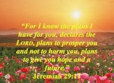 Jeremiah 29,11 - for I know the plans I have for you...